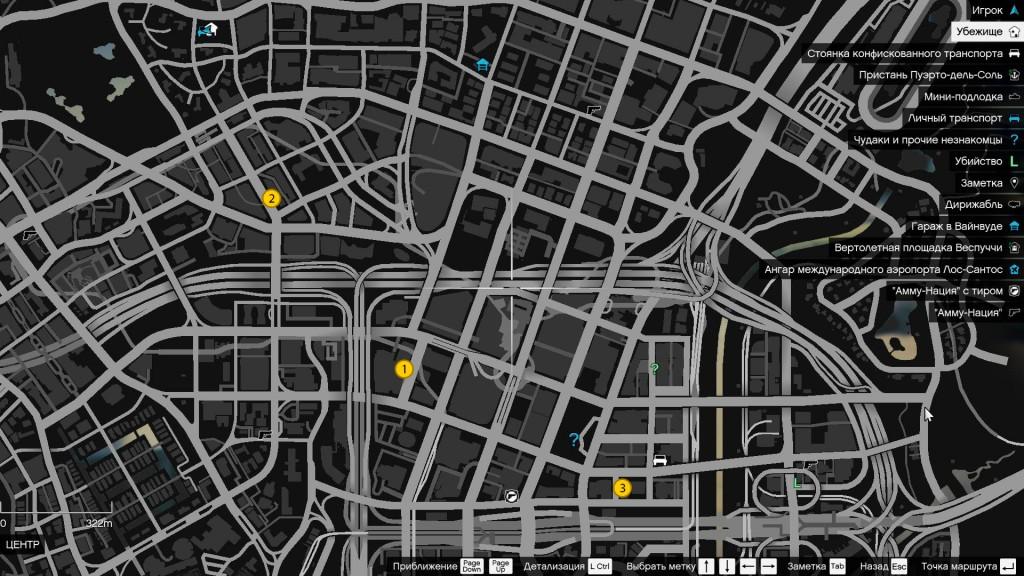 Карта расположения маслкаров в GTA 5 (крупный план)